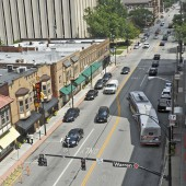 Aerial Photo of Detroit Avenue in Downtown Lakewood