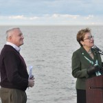 Photo of Mayor Michael Summers and US Representative Marcy Kaptur celebrating the new Solstice Steps