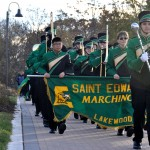 Photo of Saint Edwards marching band performing at the Solstice Steps celebration