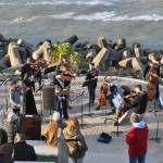 Photo of Lakewood High School musicians performing at the new Lakewood Solstice Steps