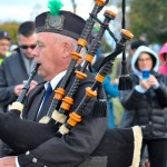 Photo of Kevin Kelley performing the bagpipe to celebrate the new Solstice Steps
