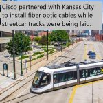 Photo of Streetcar in Kansas City with Fiber Optic Cables underneath